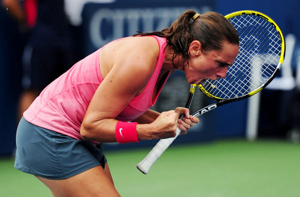 Roberta Vinci celebrates Monday after defeating Camila Giorgi to advance to the quarterfinals of the U.S. Open.