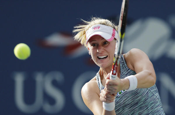 Alison Riske returns a shot against Daniela Hantuchova during a fourth-round match at the U.S. Open on Monday.