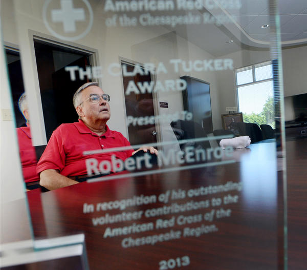 "Robert ""Bob"" McEnroe was recently presented with the American Red Cross of the Chesapeake Region's Clara Tucker Award."