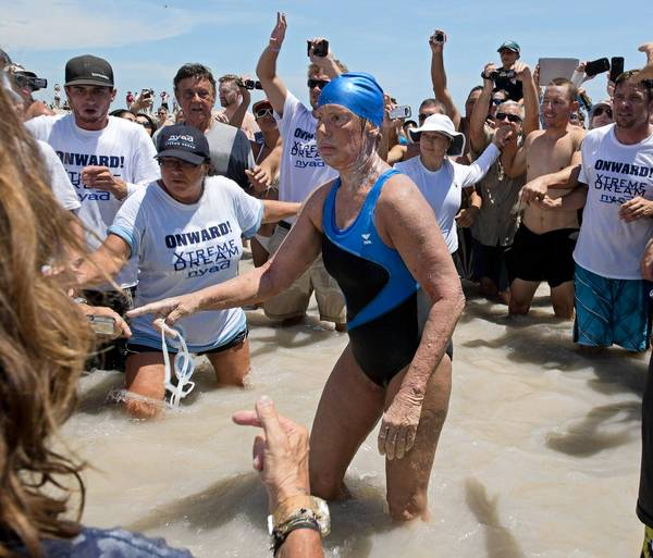 Diana Nyad arrives in Key West, Fla., after swimming 110 miles from Cuba.