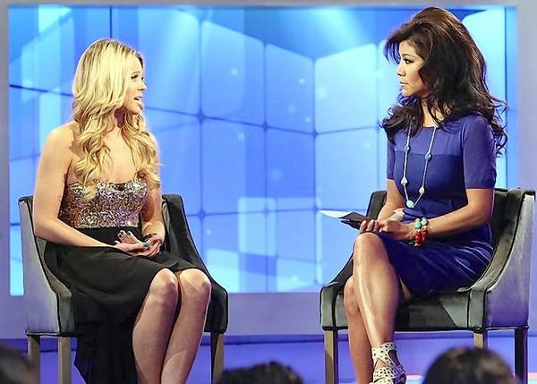 "Host Julie Chen interviews Aaryn Gries following her eviction on CBS' ""Big Brother."""