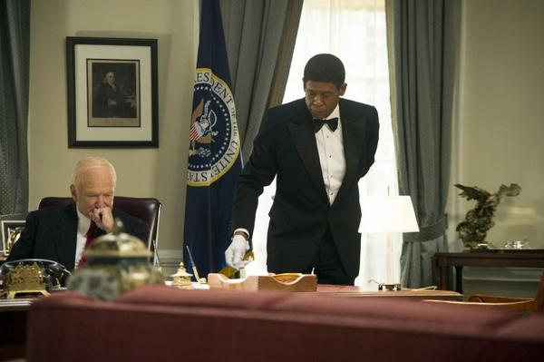 """The Butler"" stayed in first place at the box office over the weekend. Above, Forest Whitaker, right, in the title role, in a scene with Robin Williams."