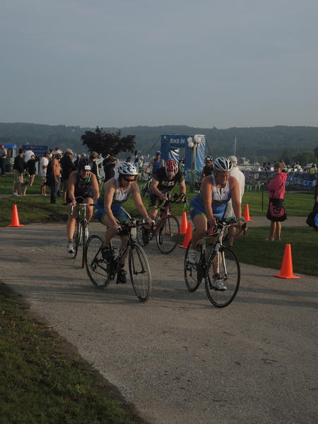 Athletes begin cycling during the second part of the Boyne City Triathlon, Sunday Sept. 1, at Peninsula Park.