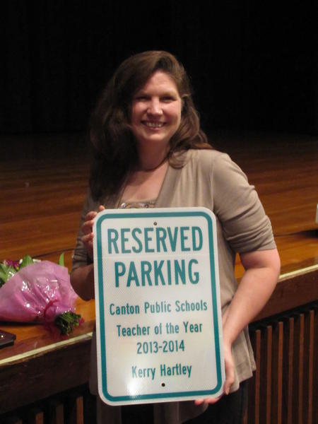 Kerry Hartley, a social studies teacher at Canton High School, has been named as the district's teacher of the year.