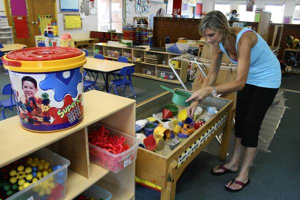 Sheree Feldman, the owner of Northbrook's Little Ones Preschool, shows the space where children play and learn as part of her organization's classes. The preschool is scheduled to move to a different place in Northbrook at the end of the year.