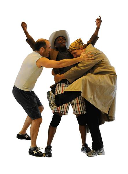 """Jonathan Brody, playing the role of Chico, left, rehearses with Sean Blake, playing the roles of Hives and Chandler, and Brad Aldous, playing the role of Harpo, for the Center Stage production of """"Animal Crackers."""""""
