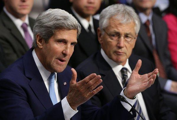 Secretary of State John F. Kerry, left, and Defense Secretary Chuck Hagel at a hearing of the Senate Foreign Relations Committee on Syria.