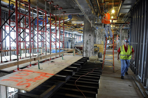 Construction of new research labs at the existing UConn Medical Center is moving along in stages as work on the 4th-7th floors are to be renovated fir