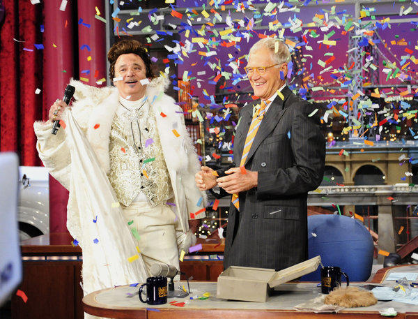 "Actor Bill Murray, left, dressed as Liberace, joins host David Letterman on the set of ""The Late Show"" with David Letterman"" as the show celebrates its 20th anniversary."