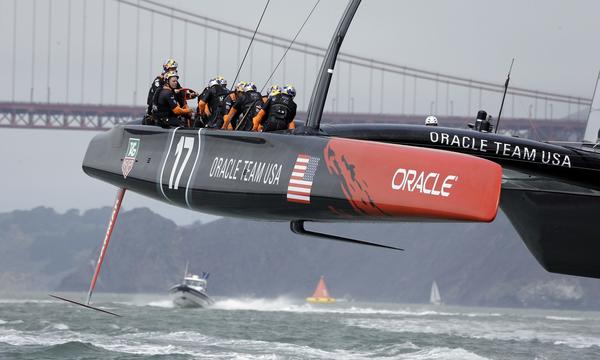 America's Cup defender Oracle Team USA was hit with sanctions on Tuesday.