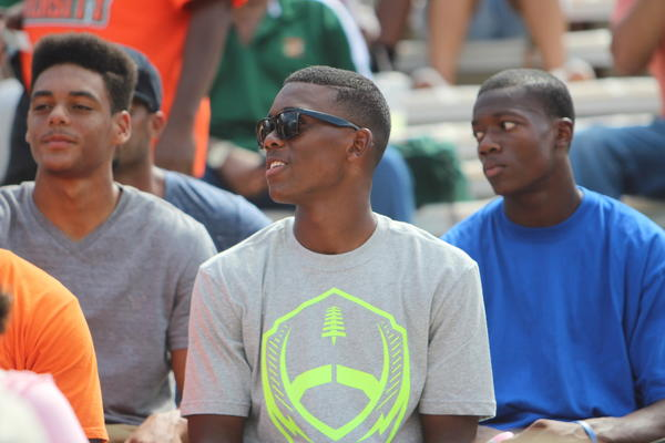 FAMU had 22 recruits visit for the MEAC-SWAC Challenge at the Florida Citrus Bowl in Orlando on Sunday, including Yawn Coleman of Apopka Wekiva (sunglasses) and Isaiah Wharton (left) of Kissimmee Gateway.