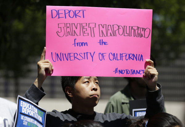 UC students protested appointment in July of Janet Napolitano because of deportation policies she oversaw atthe U.S. Department of Homeland Security.