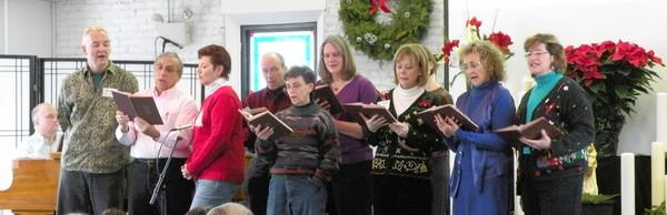 Members of Unity of Fox Valley church in Batavia sing at a recent service.