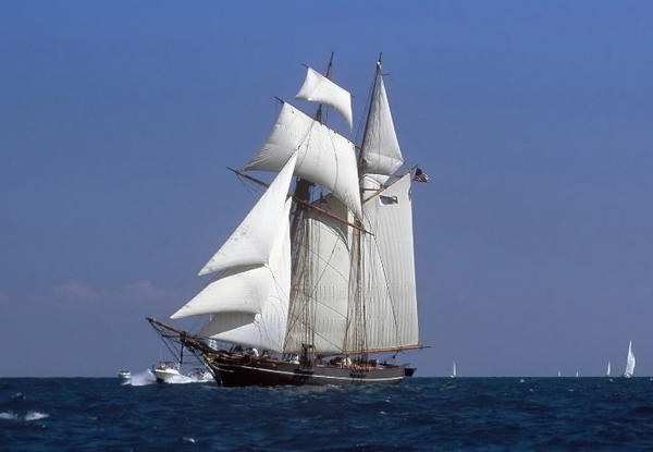 The tall ship Amistad is seen in full sail on Long Island Sound in May 2009.