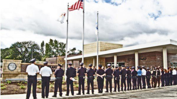 Northlake officials have filed suit against companies that built its police station. Police shown outside police station.
