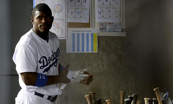 Dodgers outfielder Yasiel Puig, who left Monday's game with a leg injury, did not play Tuesday against the Colorado Rockies.
