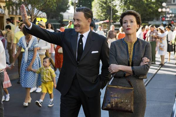 "Tom Hanks as Walt Disney shows Disneyland to Emma Thompson as ""Mary Poppins"" author P.L. Travers in ""Saving Mr. Banks."""