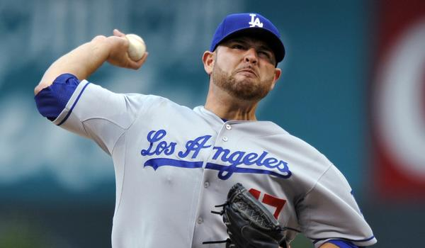 Dodgers starter Ricky Nolasco delivers a pitch during the first inning of Tuesday's game against the Colorado Rockies.