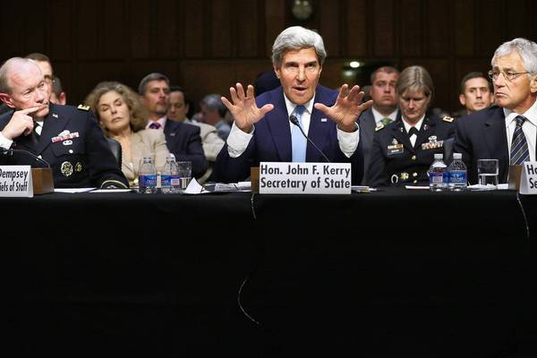 Secretary of State John F. Kerry, flanked by Defense Secretary Chuck Hagel, right, and Joint Chiefs Chairman Gen. Martin Dempsey, testifies before the Senate Foreign Relations Committee on the White House call for military action against Syria.