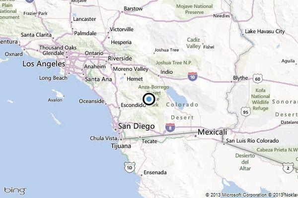 A map showing the location of the epicenter of Tuesday evening's quake near Borrego Springs in San Diego County.