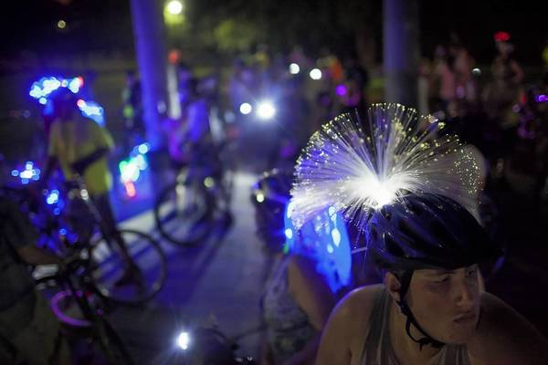 Real Art Ways holds two Real Rides a year, one in July and another in the fall. The nighttime ride on Sept. 20 kicks off a weekend of cycling in Hartford.