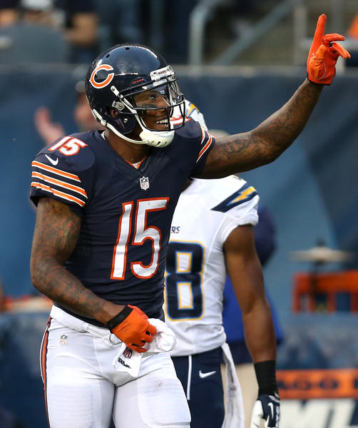 Bears wide receiver Brandon Marshall celebrates a preseason touchdown against the Chargers.