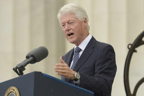 Former President Clinton delivers remarks during the commemoration of the March on Washington.