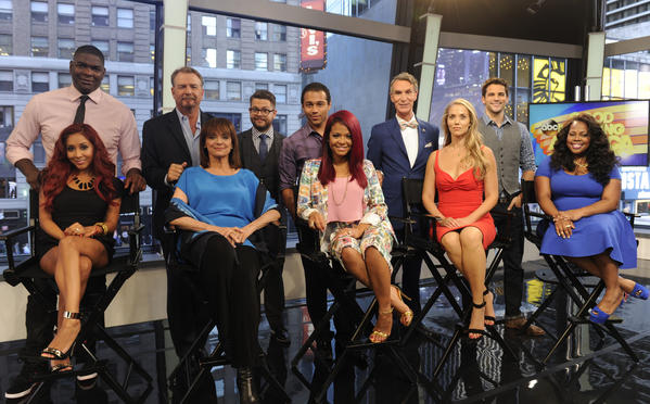 "The upcoming ""Dancing with the Stars cast on ""Good Morning America"": From left, NFL wide receiver Keyshawn Johnson, comic Bill Engvall, TV personality Jack Osbourne, actor Corbin Bleu, Bill Nye the ""Science Guy,"" actor Brant Daugherty, and seated from left, TV personality Nicole ""Snooki"" Polizzi, actress Valerie Harper, singer-actress Christina Milian, actress Elizabeth Berkley Lauren and actress Amber Riley. Actress Leah Remini will also be a contestant."