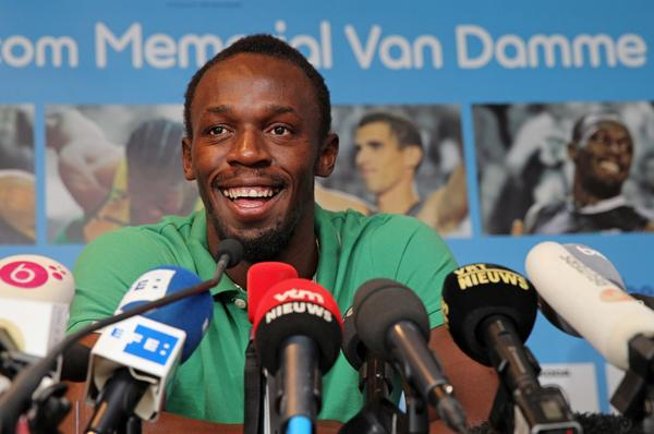 Jamaican sprinter Usain Bolt addresses the media at the Sheraton hotel in Brussels on Wednesday ahead of the Van Damme Memorial on Friday.