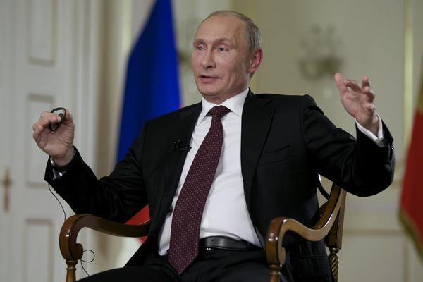 Russian President Vladimir Putin during an interview with the Associated Press at his Novo-Ogaryovo residence outside Moscow.