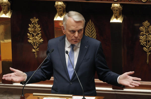 French Prime Minister Jean Marc Ayrault delivers an address about Syria on Wednesday at the National Assembly in Paris.