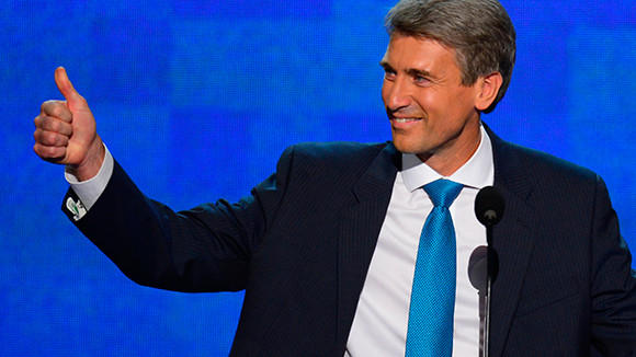 Mayor R.T. Rybak of Minneapolis, Minnesota, speaks before the delegates at the 2012 Democratic National Convention at the Time Warner Cable Arena in Charlotte, North Carolina.