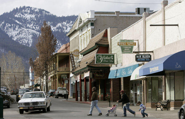 Pedestrians cross Miner Street in Yreka, the seat of Siskiyou County, whose board of supervisors voted, 4-1, on Tuesday to pursue seceding from California.