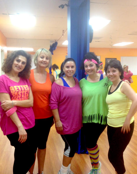 Participants in the '80s Zumba party are, from left, Noonik Tarverdian, Yvette Abrahamian, Larissa Mouseghian, Marina Artuni and Liz Megerdichian at the Abaka Center for the Performing Arts.