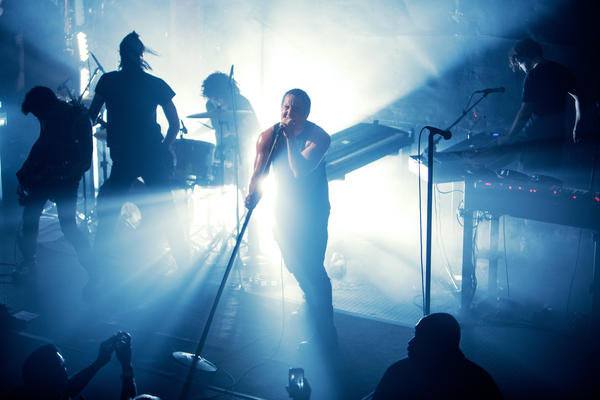 The band Nine Inch Nails performs at the Troubadour on Tuesday.