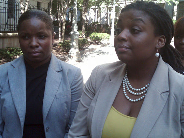 Brandi Johnson, left, and her lawyer, Marjorie M. Sharpe, leave federal court in New York after a civil jury awarded $30,000 in punitive damages in addition to the $250,000 in compensatory damages that had been awarded last week.