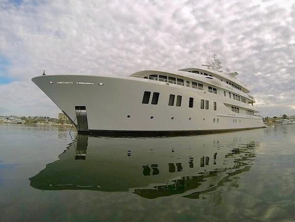 The Invictus, a 216-foot mega-yacht, enters Newport Harbor on Aug. 30.