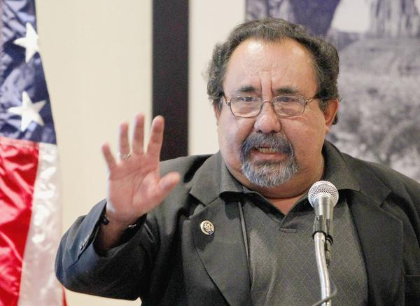 Rep. Raul M. Grijalva (D-Ariz.), speaks to supporters at an event in Phoenix.