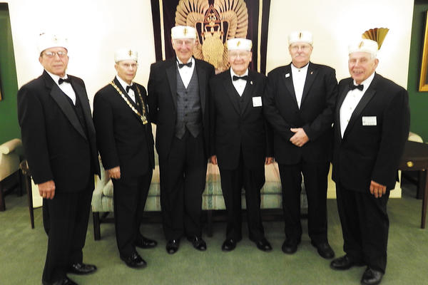"R. Francis ""Fran"" Shives of Hancock received the conferral of the 33rd Degree-Inspector General Honorary during the 2013 Biennial Session of the Scottish Rite Supreme Council for the Southern Jurisdiction in Washington, D.C. Those pictured are, from left, Mark Recard; Gary Shircliff, personal representative to the sovereign grand inspector; Shives; Howard Brode; Don Hansel; and Jerry Robinettek, registrar for Valley of Cumberland Scottish Rite."