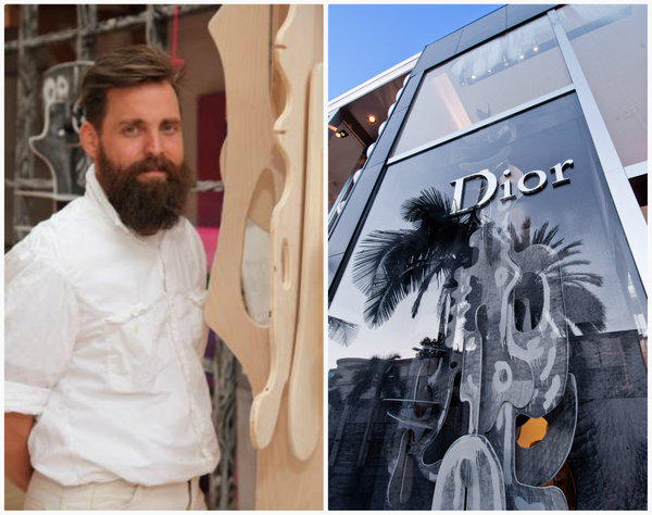 Artist Aaron Curry and the Kris Van Asche commissioned sculpture recently installed in front of Dior Homme's 315 N. Rodeo Drive boutique.
