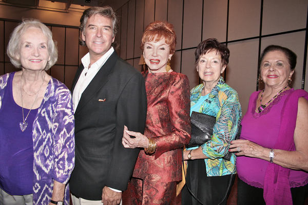 "It's a love fest at the Glendale Central library for, from left, ""The Love Boat Lady"" author Sheila Farrell Murray, Jeffery Kobes, Jeraldine Saunders, Fran Benedict and designer Irene Edwards Blore."