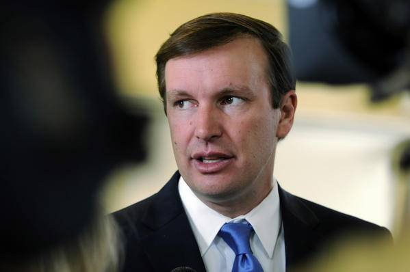 U.S. Sen. Chris Murphy holds a press conference on Syria on Tuesday before traveling to Washington, where he voted against a resolution calling for a U.S. strike.