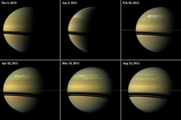 A series of images from NASA's Cassini spacecraft show the development of the largest storm seen on the planet since 1990.