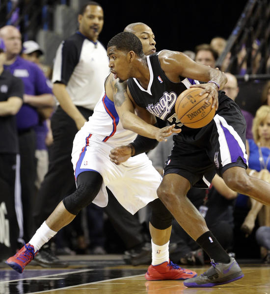 Sacramento Kings forward Jason Thompson, right, drives against Los Angeles Clippers forward Caron Butler during an April NBA game in Sacramento. The city is looking to streamline the environmental review process for a proposed new arena where the Kings would play.