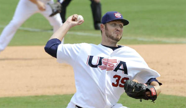USA closer Kevin Jepsen delivers a pitch in the eighth inning against Japan in their men's bronze medal baseball game at the 2008 Beijing Olympics.
