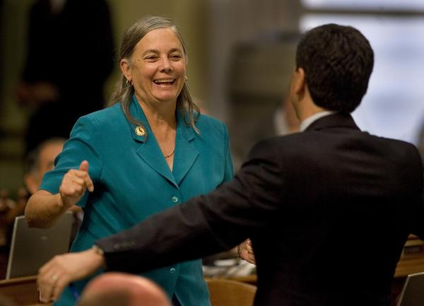 Fran Pavley, then a member of the California Assembly, after her environment bill was passed in 2006.