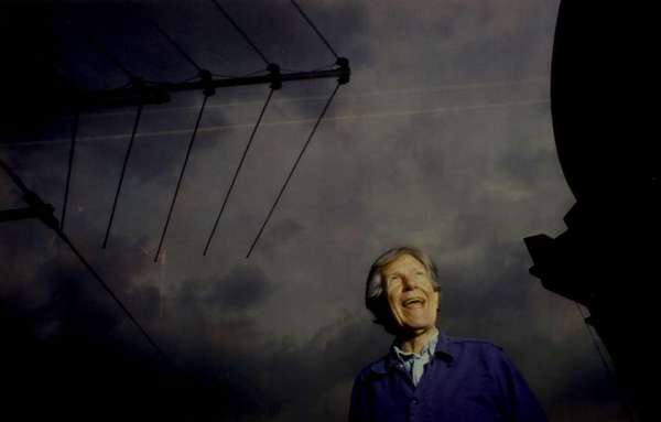John Cage on the roof of the Embassy Theater in Los Angeles in 1987 at a concert celebrating his 75th birthday.