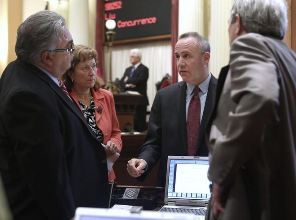 "State Sens. Ron Calderon, Ellen Corbett, Darrell Steinberg and Mark DeSaulnier. Corbett, who wrote the bill, said it would help ""minimize potential identity theft or other damages."""