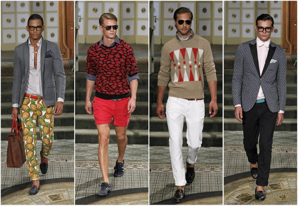 Looks from the Michael Bastian spring/summer 2014 menswear runway show staged at the Pierre Hotel during New York Fashion Week.