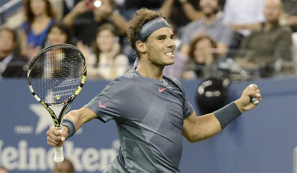 Rafael Nadal reacts after defeating Tommy Robredo during a quarterfinals match at the U.S. Open, 6-0, 6-2, 6-2.